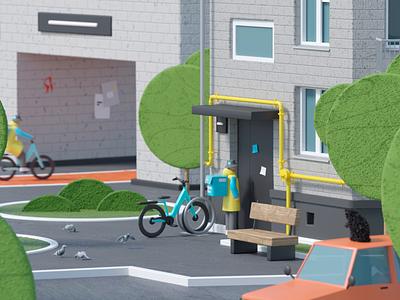 Yandex.Lavka city delivery food yandex coronarender character animation motion illustration c4d 3d