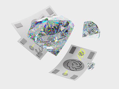 Treasure diamonds earning money coronarender illustration c4d 3d