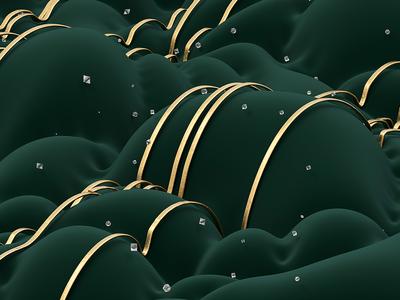 Dew arnoldrender gold dew velvet diamonds illustration c4d 3d