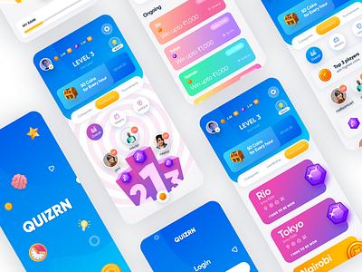 Mobile App UI - Quiz App ios app quiz ux quiz ui game design game art leadership ui ux mobile ui mobile app game ui game gaming game app leaderboard quiz app