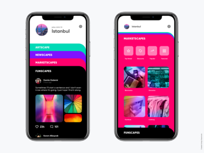 Mobile App UI - Social App Idea social media city planning city app colourful social app social network mobile app