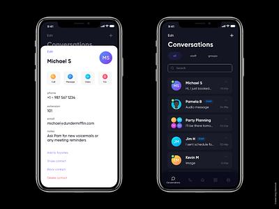 Mobile App UI - Basic Communication App dark dark app work communication social app ios app mobile ui communication covid19 chat app communication app mobile app
