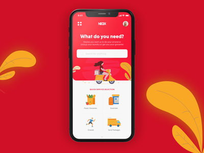 Mobile App UI - Grocery Delivery App daily needs grocery delivery red app red visual design mobile app delivery app grocery app