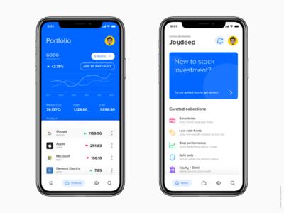 Mobile App UI - Stock Investment App stock market app stock market mutual funds app business app stock app fintech app finance app mobile app ui app ui b2c investment app fintech finance stocks app