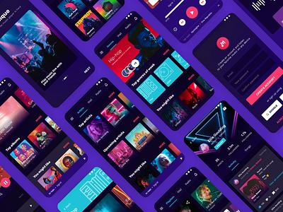 Mobile App UI - Music Player la musique music ui app ui music player app purple dark dark ui music player