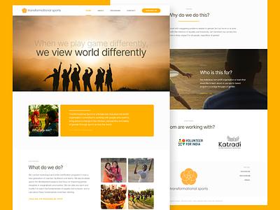 Landing Page - Sports NGO indian website minimal website design web design minimal design minimal website roboto inter simple yellow website sports ngo ngo sports landing page