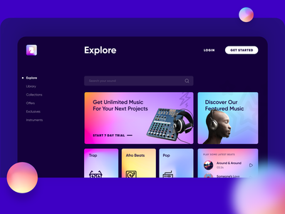 Web App UI - Stock Music Repository design b2c dashboard music app web ui web app ui purple web app beats music