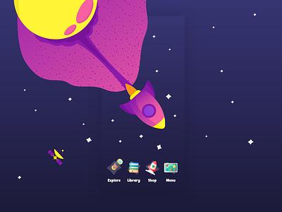 Mobile App UI - Kids Book App illustration ebook embibe byjus edtech learning app children app ui colourful rocket space kids app childrens app book app