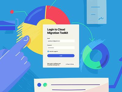 Login Screen - Enterprise Web App enterprise app web app web design blue database cloud computing cloud tool login screen signup register login