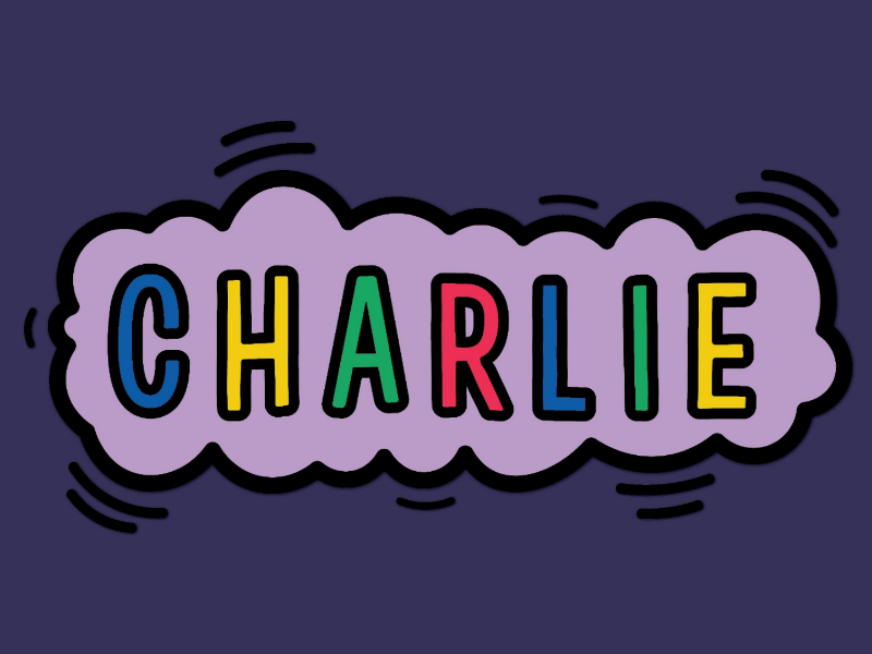 Keith Haring-inspired pet name cloud typography keith haring design