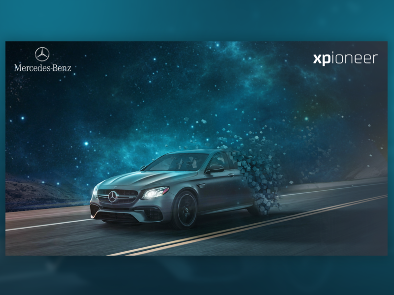Mercedes visual for UI contest hmi car innovative space sci-fi photoediting cubes abstract mercedes