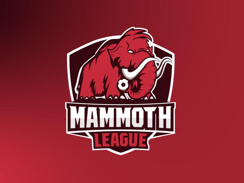 mammoth league logo branding character logo team red fantasy-soccer mammoth soccer sports logo