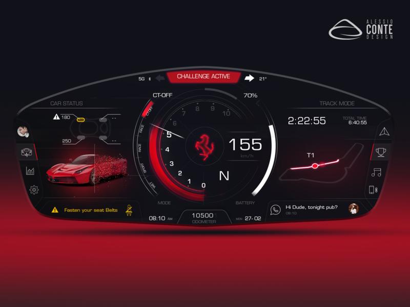 Ferrari HMI concept - Personal Project particles sci-fi futuristic gauges clean instrument uxui ux automotive hmi ferrari
