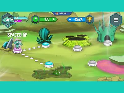 GUI - Concept - Alien cartoonish game character design world alien uxui videogame gui map
