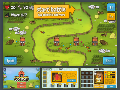 Fort Game GUI and Logo cartoonish mobile strategy fort gui character ux ui videogame