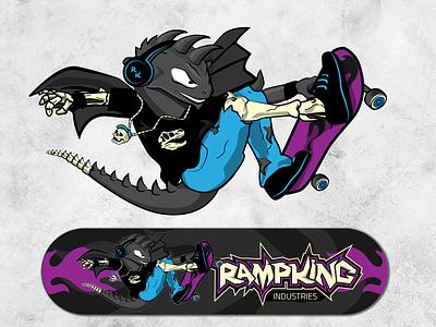 Dragon Skater skateboard air skate badass rebel skeleton dinosaurus dragon bones