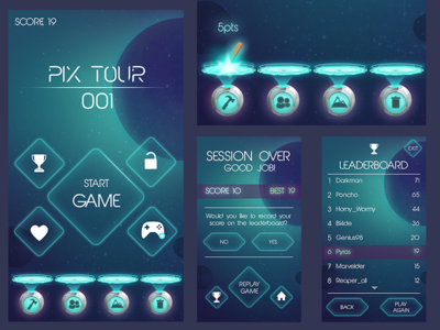 Space Game ship robot portal space sci-fi cartoonish mobile strategy gui ux ui videogame