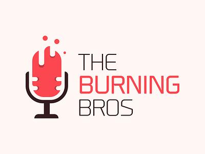 Burning Bros sound flame fire microphone music soul band burning logo