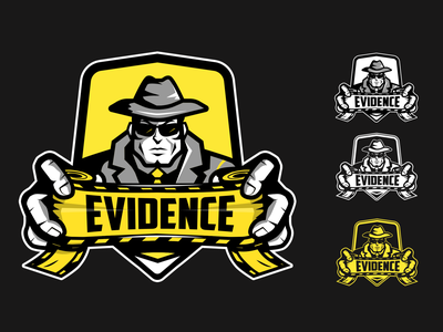 Evidence Logo design homicide tape character yellow forensic police detective crime evidence esportslogo