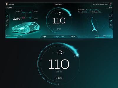 Hmi ultrawide screen light sci fi navigator speedometer instrument car ux-ui visualdesign hmi