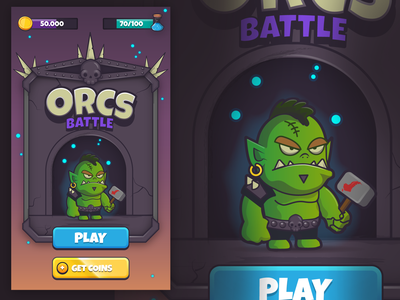 Ui for a Fantasy Videogame battle character creation tiny orc fantasy medieval videogame uidesign