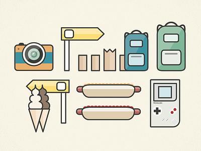 Random Road-trip Items illustration vacation gameboy hot dog icecream signage camera backpacks iconography icons