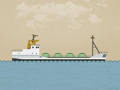 Cement Freight Ship illustration boat ship sky pixel flat sea ocean