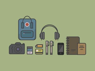 Backpackin' fjallraven canon cigarettes aiaiai headphones notepads micron phone illustration