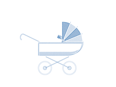It's a boy! baby stroller monochrome line drawing illustration drawing