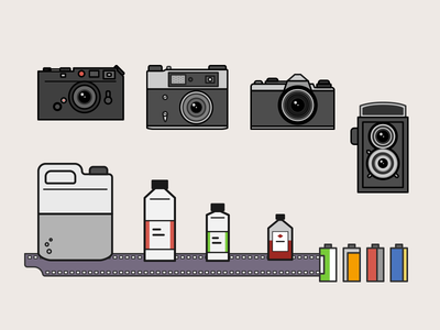 Everything a photographer needs! leica fed-5 rangefinder pentax tlr film film developers illustration