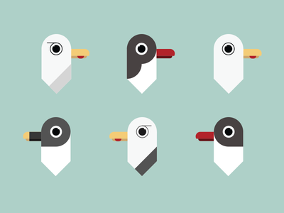A flock of seagulls seagull birds geometric illustration