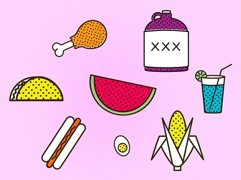 Potluck offset booze taco drumstick chicken corn watermelon illustrations icons iconography