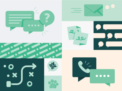 Conversations Guide paw cover layouts conversation phone slack pattern sticky note bubble postit skills communication chat vector layout illustration fintech design prospa green
