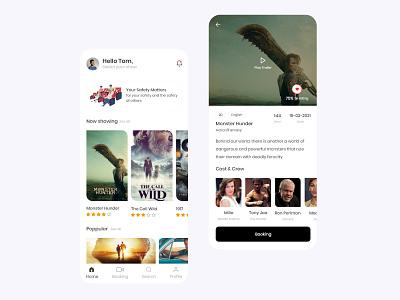 Book Movie Ticket - Mobile App Design landingpage ui design designer adobe creative clean design minimal film online marketing booking movie app