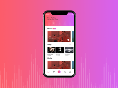 Movie and Music Play gradiant designers kerala uiux uiuxdesign mobileui mobile app concept dribbble best shot simple design minimal portfolio creative clean adobe design landing page dribbble music app movie app