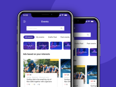Sport Event listing ui design clean ui design mobileui mobile app blue inspiration business concept simple design minimal dribbble best shot landingpage portfolio creative dribbble illustration adobe designer