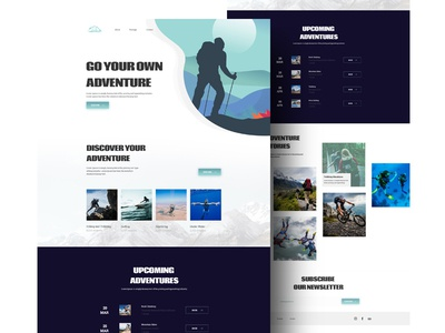 Adventure Tour Website - Landing Page landing page invite blue illustration mobile app inspiration branding dribbble best shot web design simple design design minimal dribbble creative portfolio landingpage clean adobe ui design designer