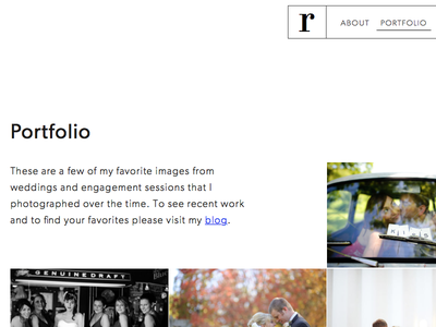 Photography website wip typography images gallery photographer wedding photography