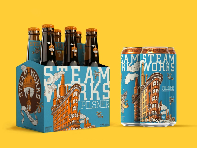 Steamworks can design canada alcohol beer brewery branding packaging