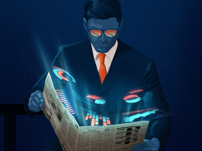 From paper tuo digital management graphics chart blue man economy business