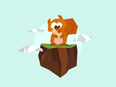 Happy Squirrel vector art vector flat  design character illustration
