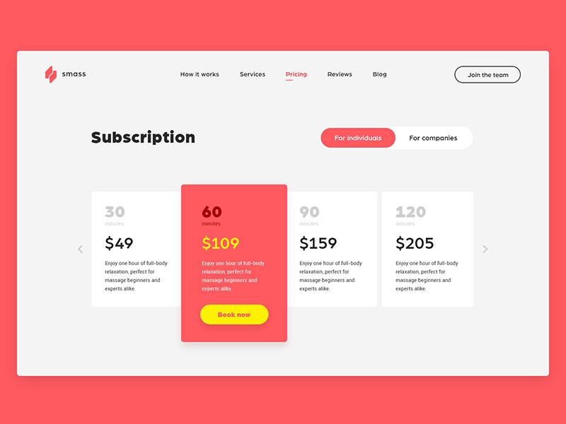 Subscription design ui ux web subscription
