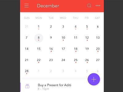 Calendar material design app mobile app widget ui calendar