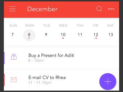 WIP Calendar app- Week View material design app mobile app widget ui calendar