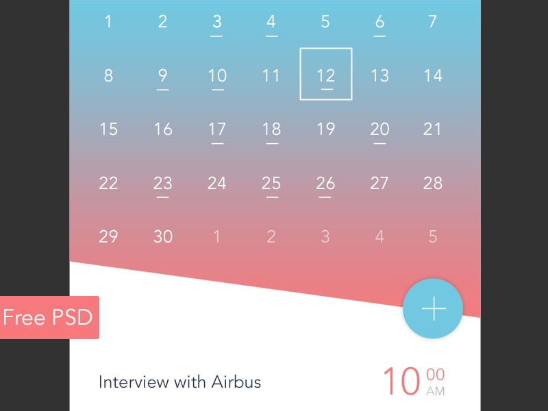 Free PSD - Calendar app event day material design app mobile app widget ui calendar download free download psd free