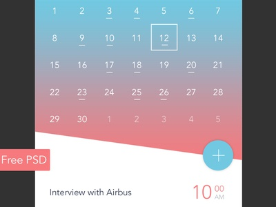 Free PSD - Calendar app event day material design app mobile app widget ui calendar download free download psd free
