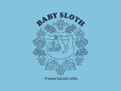 Baby Sloth label package design linear illustration la isla branding identity packaging design coffee sloths illustration costa rica packaging sloth