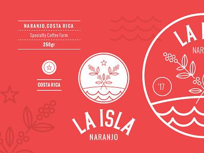 La Isla identity logo island farm coffee costa rica escudo badge logotype mark branding