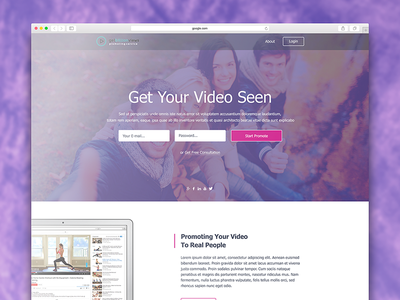 Landing page for promo login layout ux clear ui landing site web