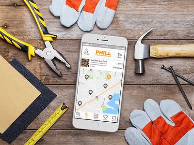 Phill App ui map portfolio phone mockup iphone ios logo design application app android